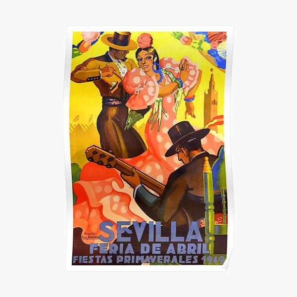 Cartel de feria de abril de Sevilla 1949 de España Póster