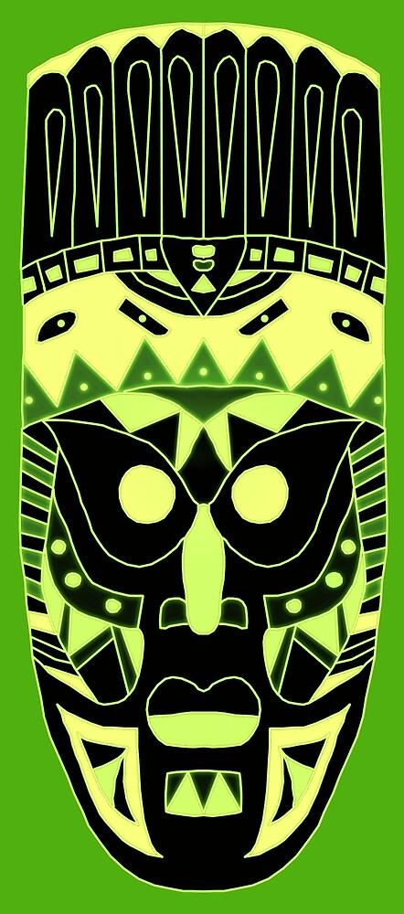 African Mask Green by macuvi