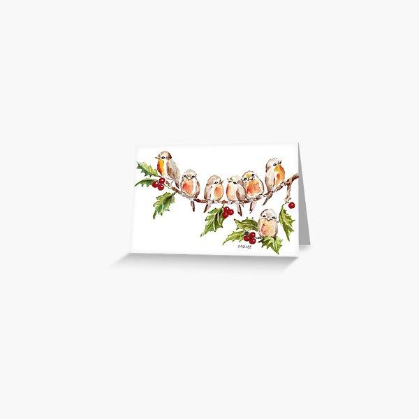Seven Little Birds Greeting Card