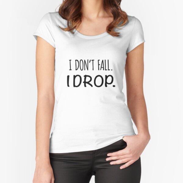 Aerial Silks Drop Shirt - Black text Fitted Scoop T-Shirt
