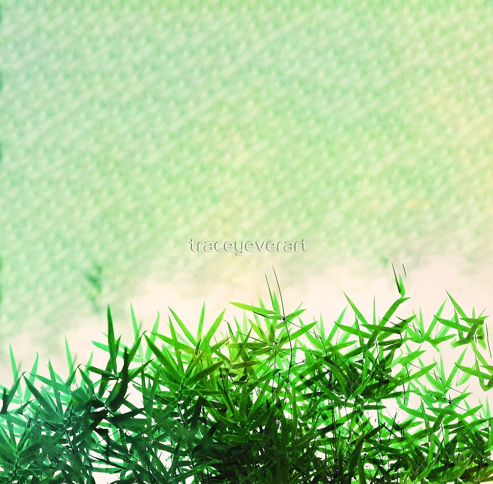 Green bamboo leaves on a green abstract background by traceyeverart