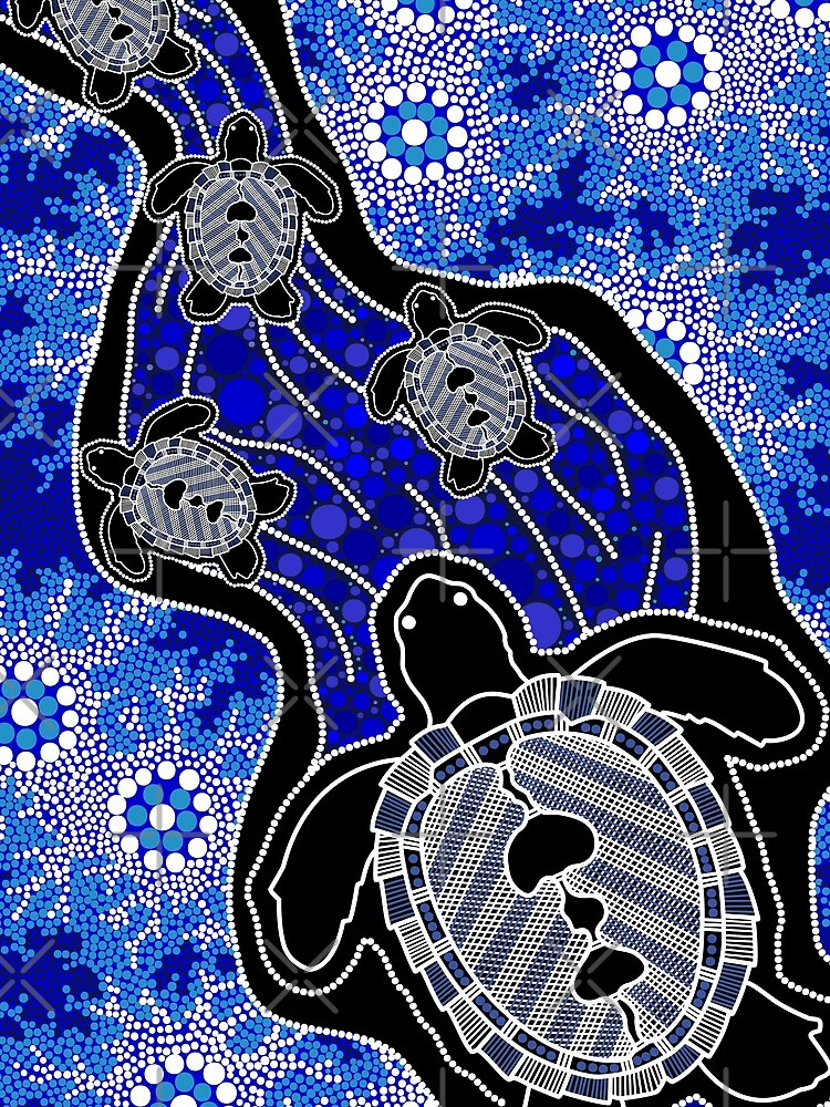 Aboriginal Art Baby Sea Turtles Drawstring Bag By Hogartharts