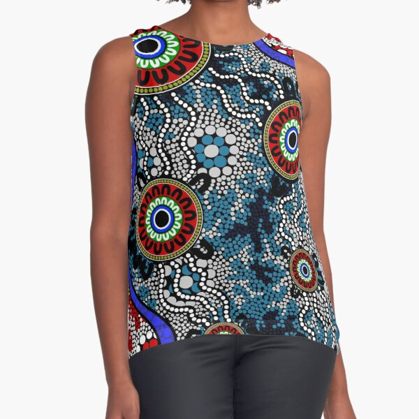 Authentic Aboriginal Art - Camping Dots Sleeveless Top