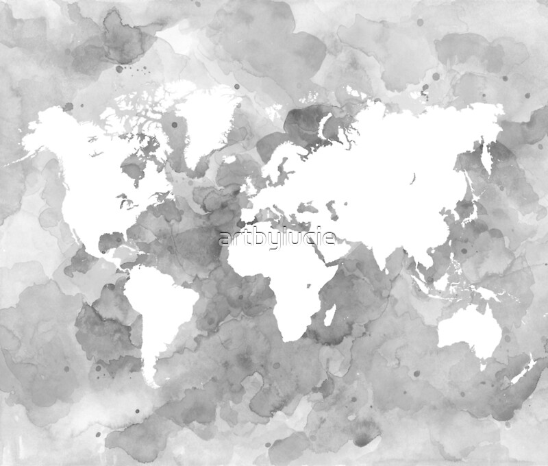 Design 49 world map grayscale canvas prints by artbylucie redbubble design 49 world map grayscale by artbylucie gumiabroncs Gallery