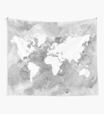 Design 49 World Map grayscale Wall Tapestry