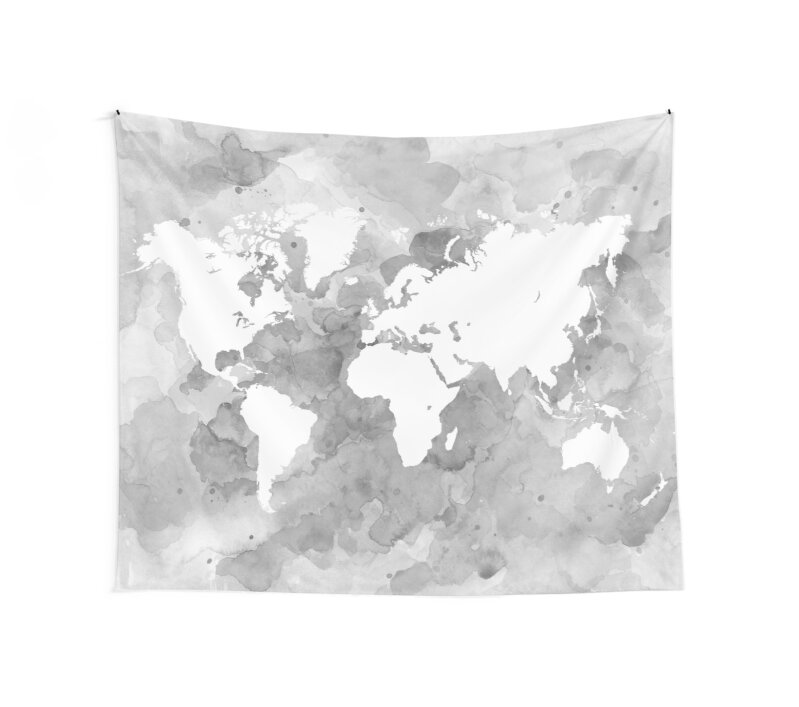 Design 49 world map grayscale wall tapestries by artbylucie design 49 world map grayscale by artbylucie gumiabroncs Image collections