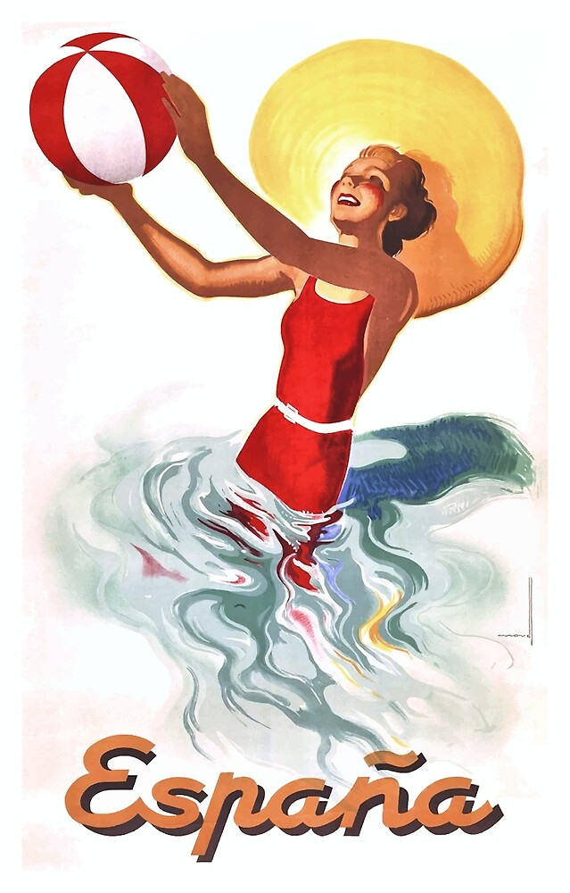 1940 Spain Beach Travel Poster by retrographics