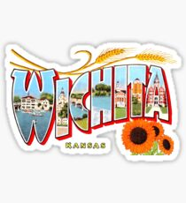 Wichita Kansas Vintage Postcard Decal Sticker