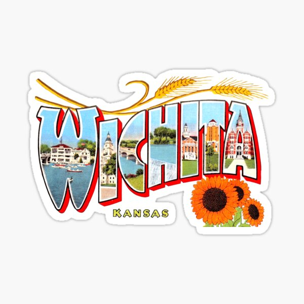 Wichita Kansas Vintage Postcard Decal Sticker