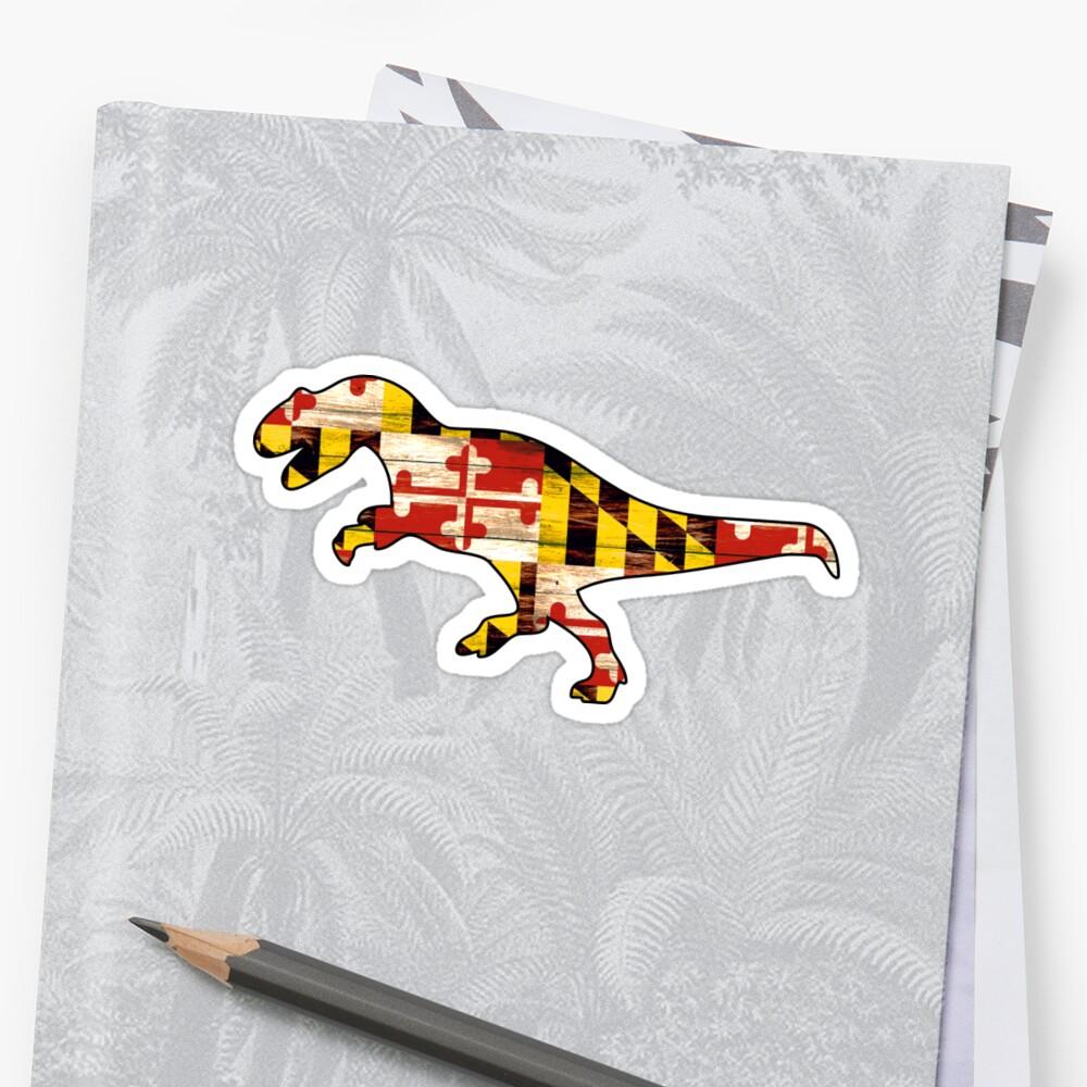 Maryland wood flag T-rex dinosaur by artisticattitud