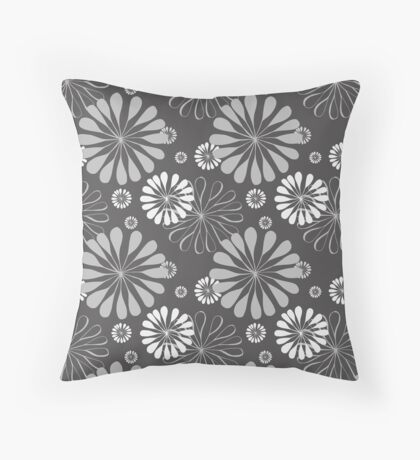 Mod Floral Print Throw Pillow