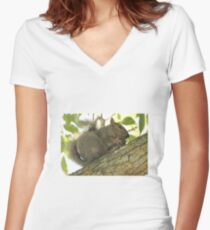 Squirrel in Ash Tree with Walnut Women's Fitted V-Neck T-Shirt