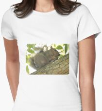 Squirrel in Ash Tree with Walnut Women's Fitted T-Shirt
