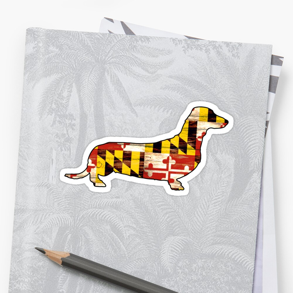 Maryland wood flag dachshund dog by artisticattitud