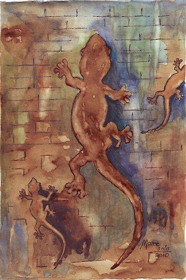 Geckos in my bathroom by Maree Clarkson