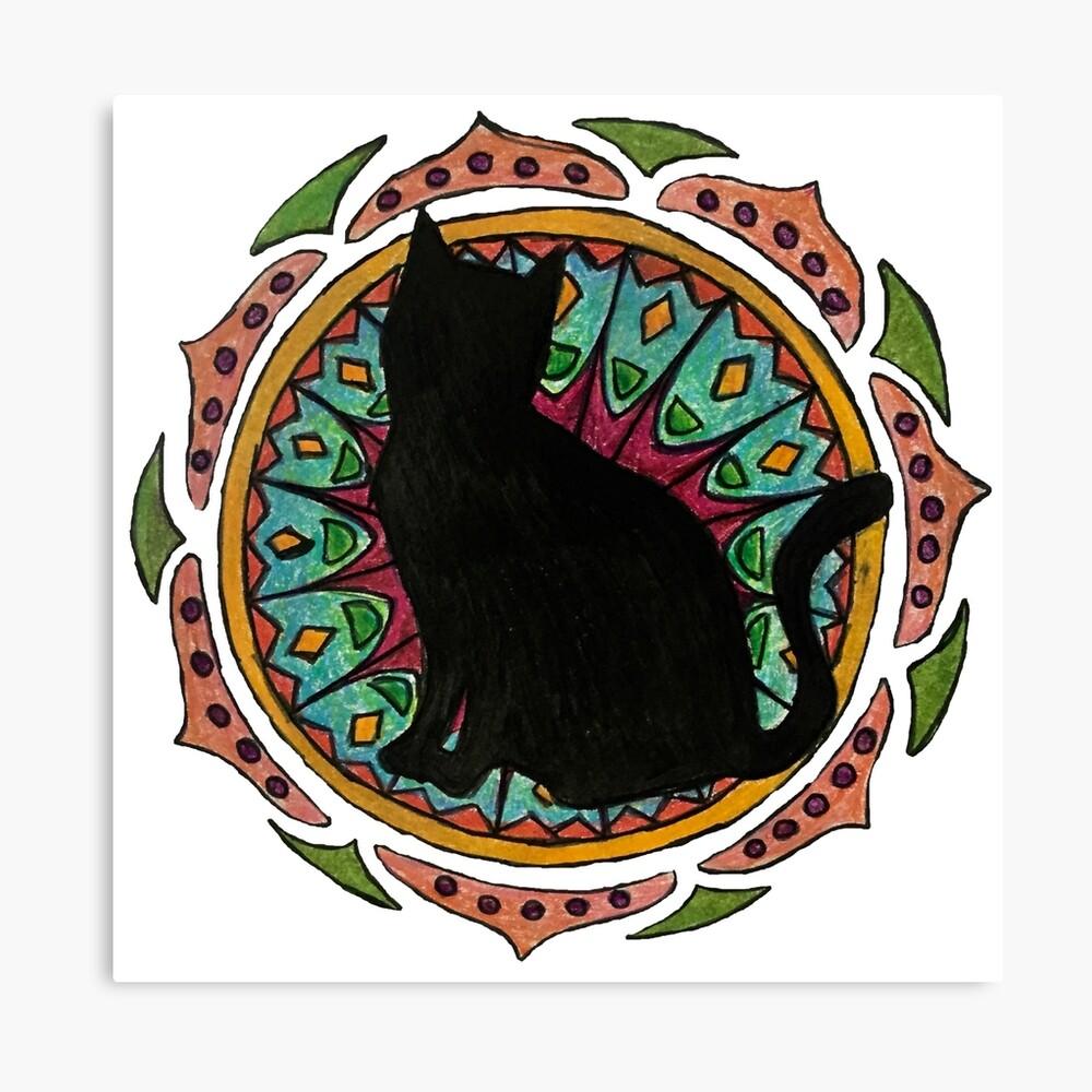 Black Cat Mandala Lienzo