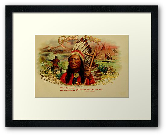 Early 1900 Great Chief vintage cigar box label  by killslammer