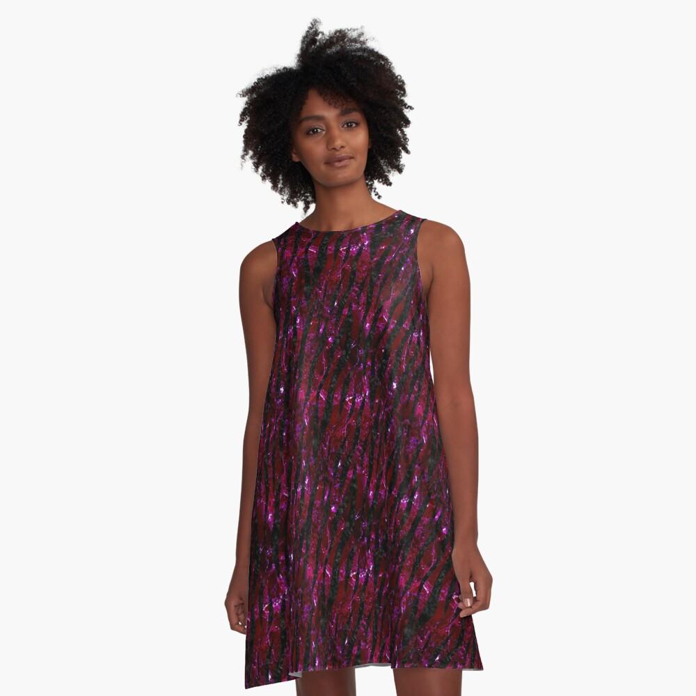 SKIN3 BLACK MARBLE & BURGUNDY MARBLE (R) A-Line Dress Front