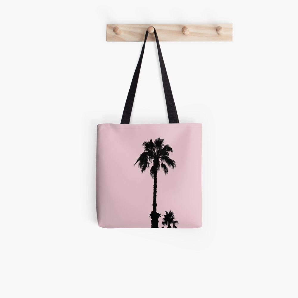 Palm Tree Silhouettes On Pink Tote Bag