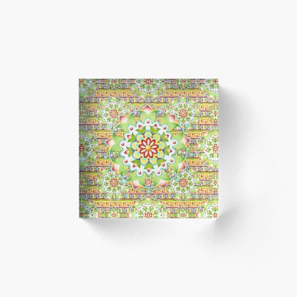 Fiesta Rainbow Mandala Acrylic Block