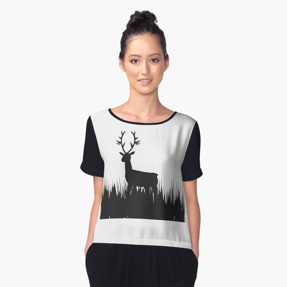 grass deer in the night Women's Chiffon Top Front