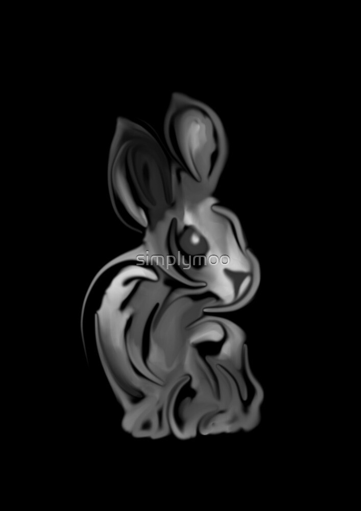 Black and White Bunny by simplymoo
