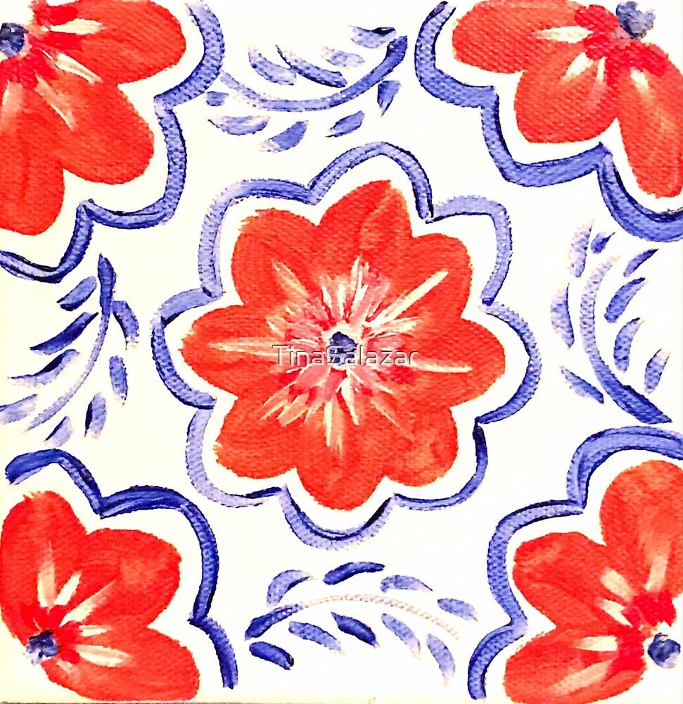 Orange Flower with Blue Pattern by TinaSalazar