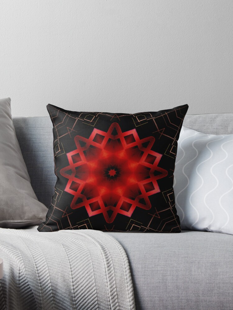 Vibrant Red Crimson Star Mandala with Abstract Lines by Sheila Wenzel Ganny