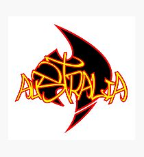 Australia Graffiti over logo - Aboriginal flag Photographic Print