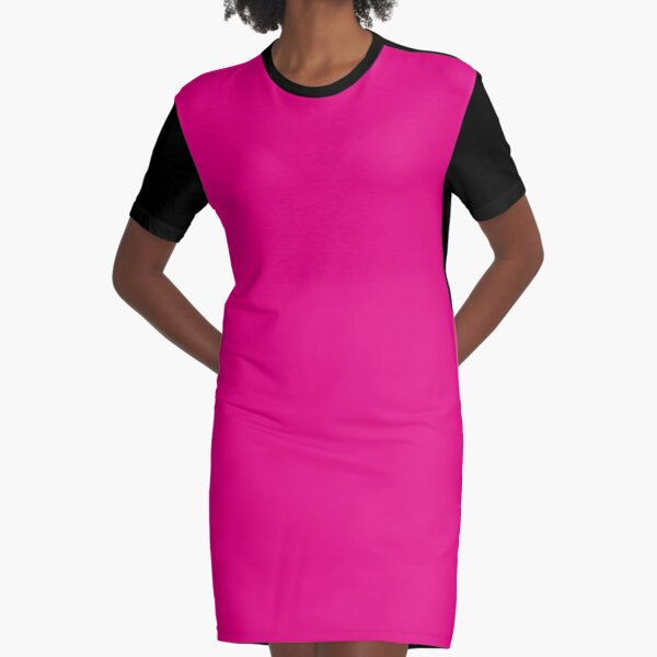 Hot Pink | Solid Color |  Graphic T-Shirt Dress