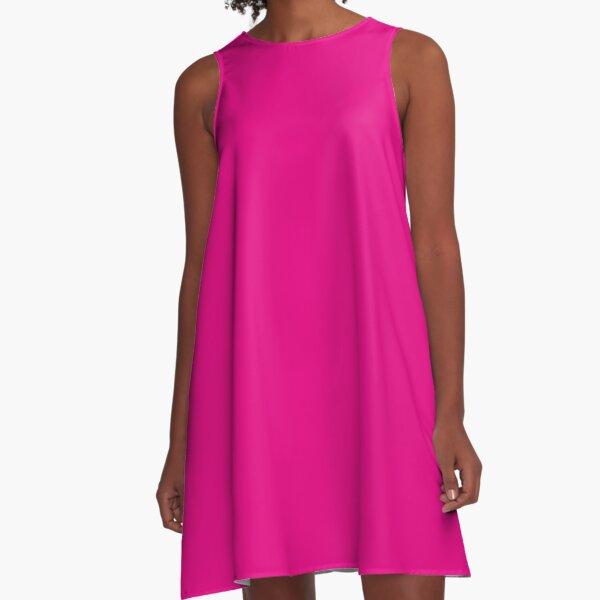Hot Pink | Solid Color |  A-Line Dress