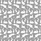Rabbit Pattern   Rabbit Silhouettes   Bunny Rabbits   Bunnies   Hares   Grey and White    by EclecticAtHeART