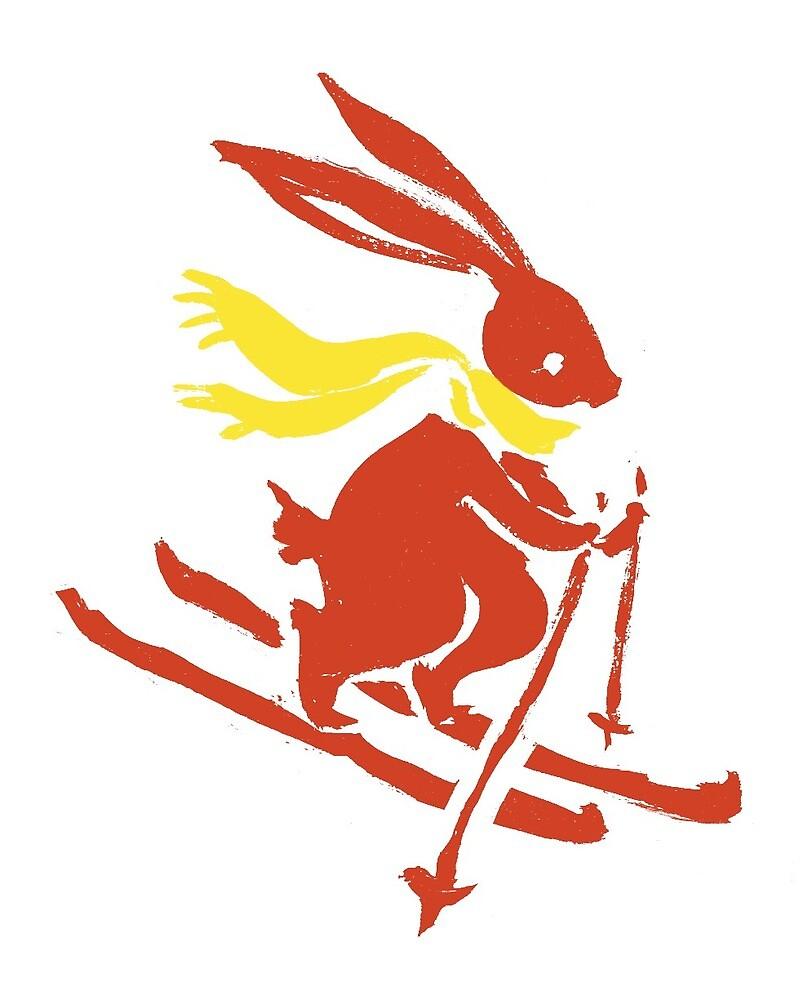 Bunny Rabbit on Skiis  by RAJillustration