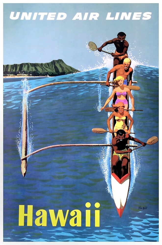 1953 United Airlines Hawaii Travel Poster by retrographics