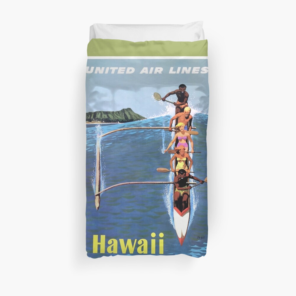1953 United Airlines Hawaii Travel Poster Duvet Cover