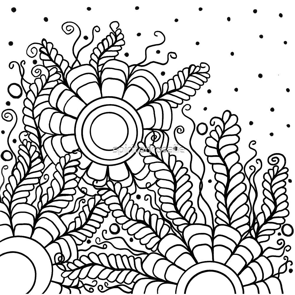 Doodle Art Three Flowers Vines – Black and White by spiritedrosalie