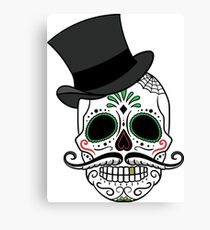 Day of the Dead Sugar Skull with Tophat Canvas Print