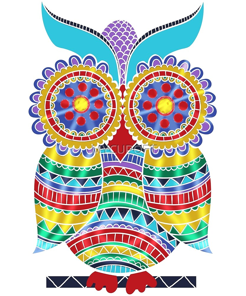 Vintage Owl Colorful kaleidoscope Bird Gift T-Shirt by MYCUPOFT