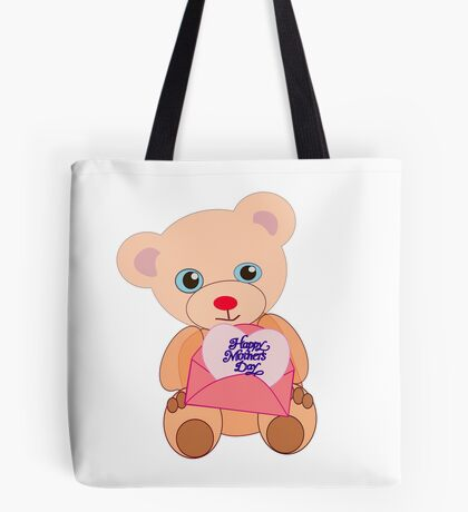 Teddy with mother's day message (5800 views) Tote Bag