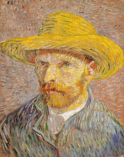 Self-Portrait with a Straw Hat,  Vincent Van Gogh  by fineearth