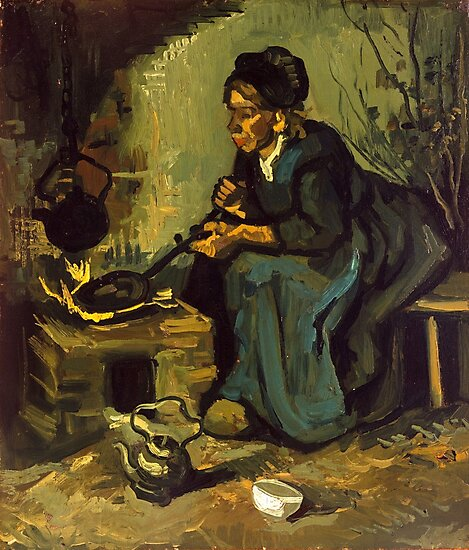 Peasant Woman Cooking by a Fireplace, Van Gogh  by fineearth