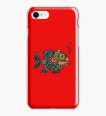 Zentangle funny cute fish iPhone Case/Skin
