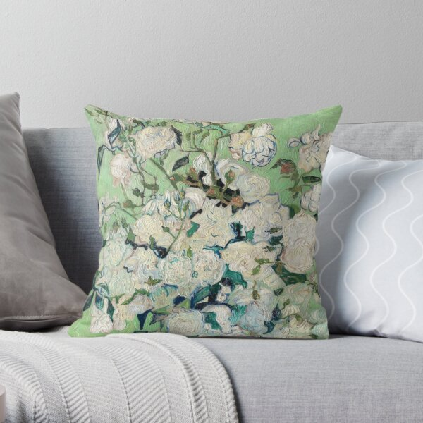 Van Gogh, Roses, 1890 Throw Pillow