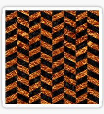 CHEVRON1 BLACK MARBLE & COPPER FOIL Sticker