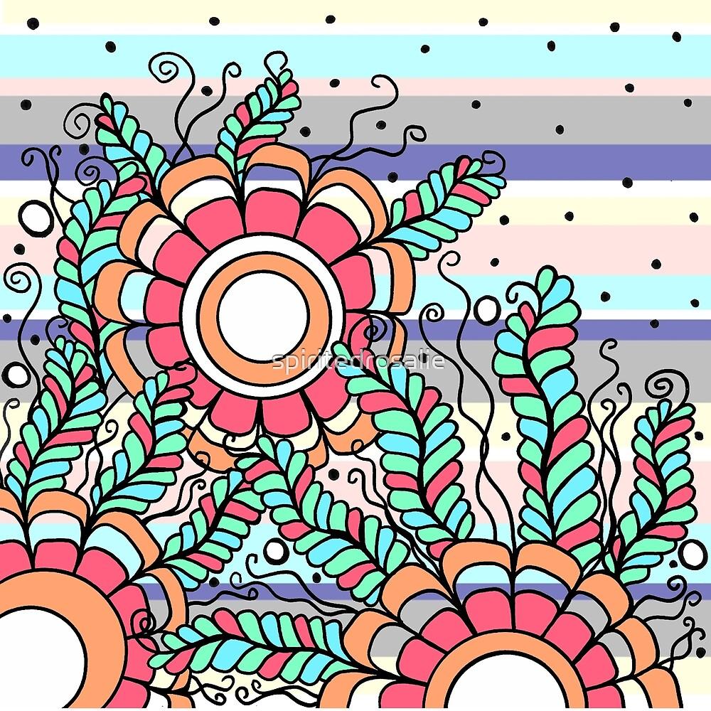 Doodle Art Three Flowers Vines with Stripes by spiritedrosalie