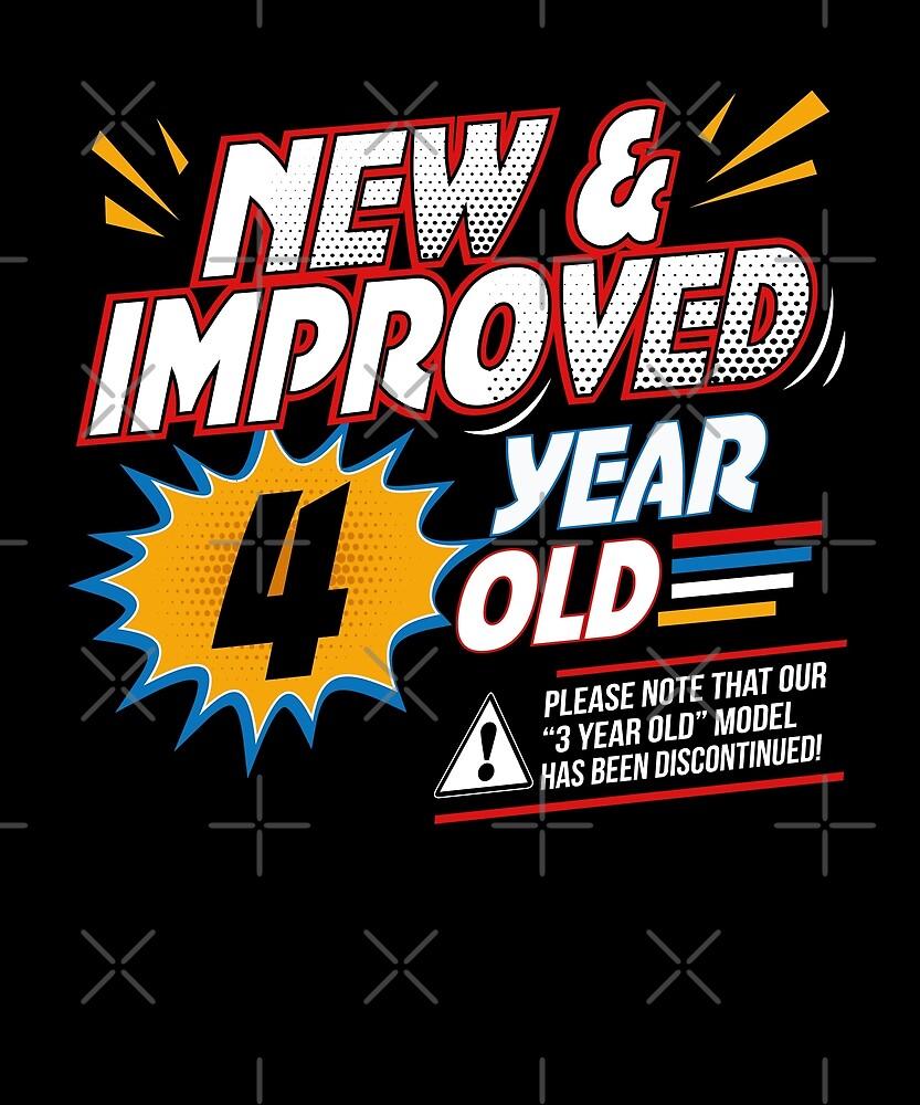 Funny 4th Retro Birthday T-Shirt 4 Yr Old Comical Cartoon by SpecialtyGifts