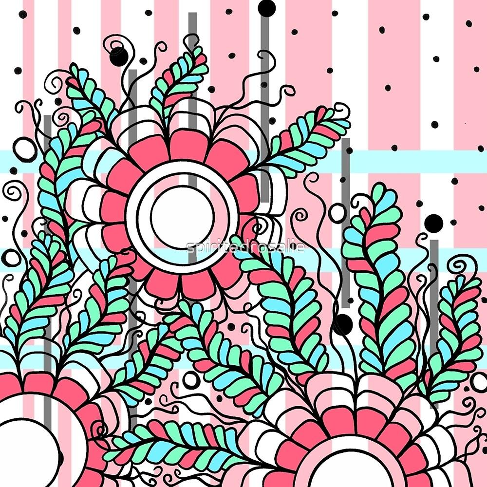 Doodle Art Three Flowers Vines – In the Pink by spiritedrosalie