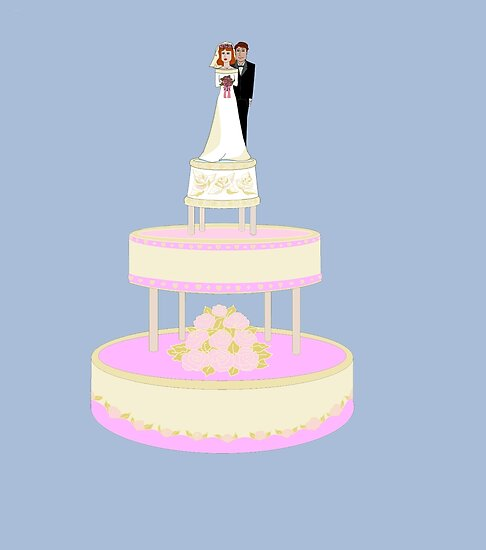 A Wedding Cake with Bride and Groom by Judy Snyder