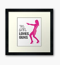 Funny Gun Girl Shooting Guns Gift T-Shirt  Framed Print