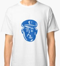 Police Officer Head Woodcut Classic T-Shirt